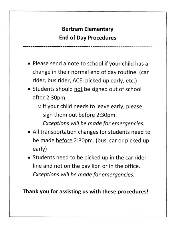 Bertram Elementary End of Day Procedures Thumbnail Image