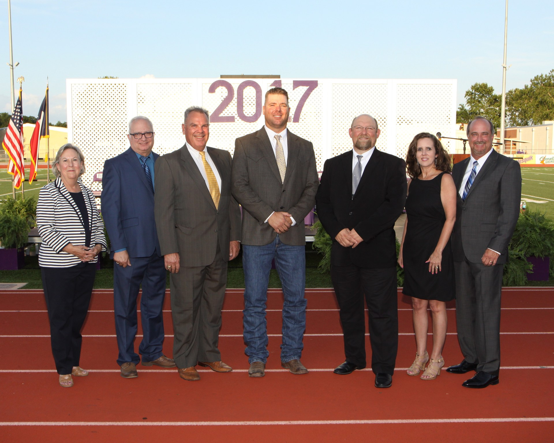 2016-2017 School Board L-R:  Superintendent Dee Carter, Rick Martin, Dr. Greg Gilcrease, Clint Scheib, Hank Dietert, Renee Rehfeld and Tracy Large.  Donna Gilliam not pictured.