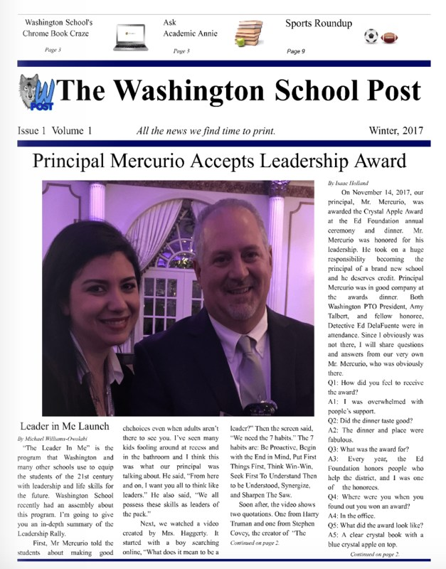 Picture of The Washington Post Newspaper with a featured image of Mr. Mercurio and Mrs. Emmanouilidis.