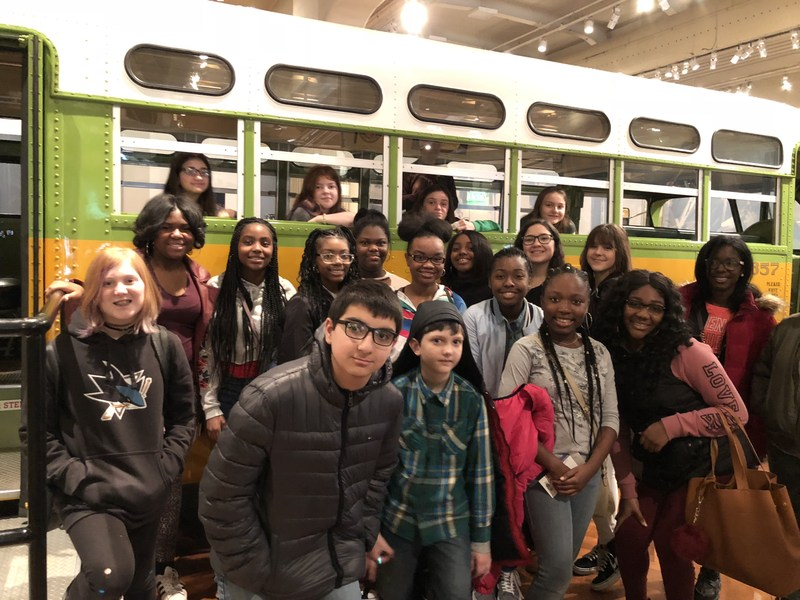 SLMS students in front of Rosa Parks Bus at Henry Ford Museum