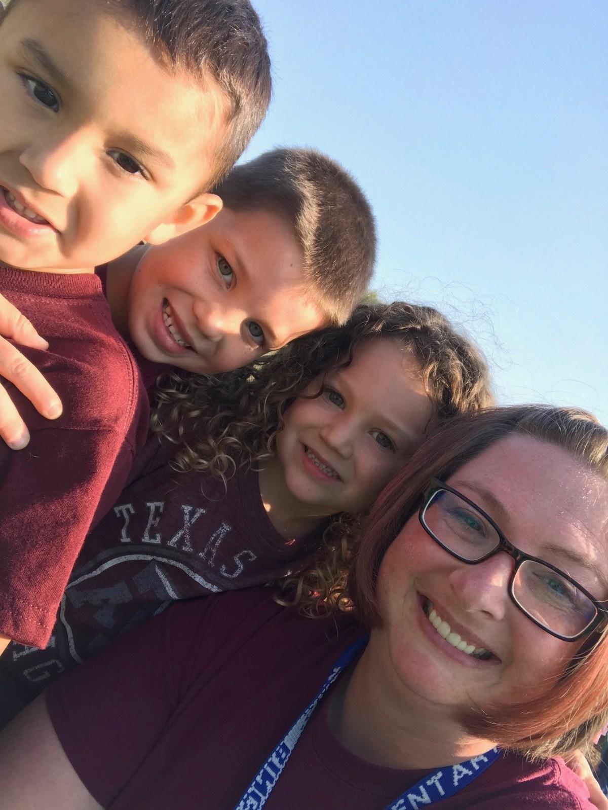 Mrs. Bingham with students