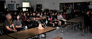 Walnut Elementary fifth-graders, administrators, teachers and Board Member Santos Hernandez, Jr., watch as students talk about the power of STEAM education on Oct. 30.