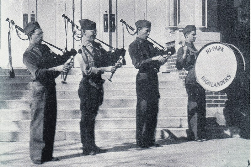 The first bagpipe players at Highland Park