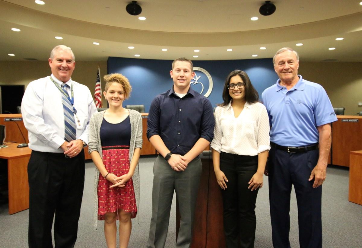 Haylee Marshall, Tyler Powell, Astha Patel, Superintendent Kayrell, and  Hemet Education Foundation ...