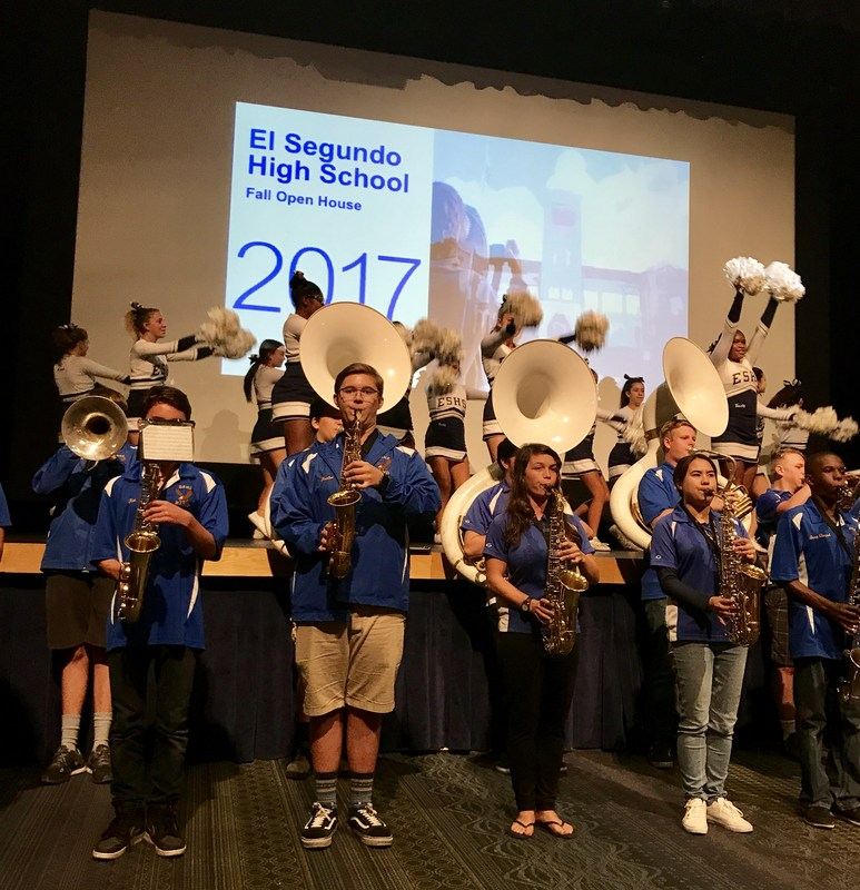 El Segundo High School's award-winning Eagle Marching Band and cheerleaders perform at an Open House for middle school families on Nov. 6.
