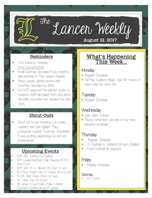The Lancer Weekly 8-21-17
