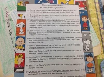 Teacher class instructions.