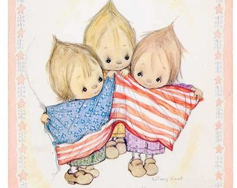 image of 3 children holding a flag
