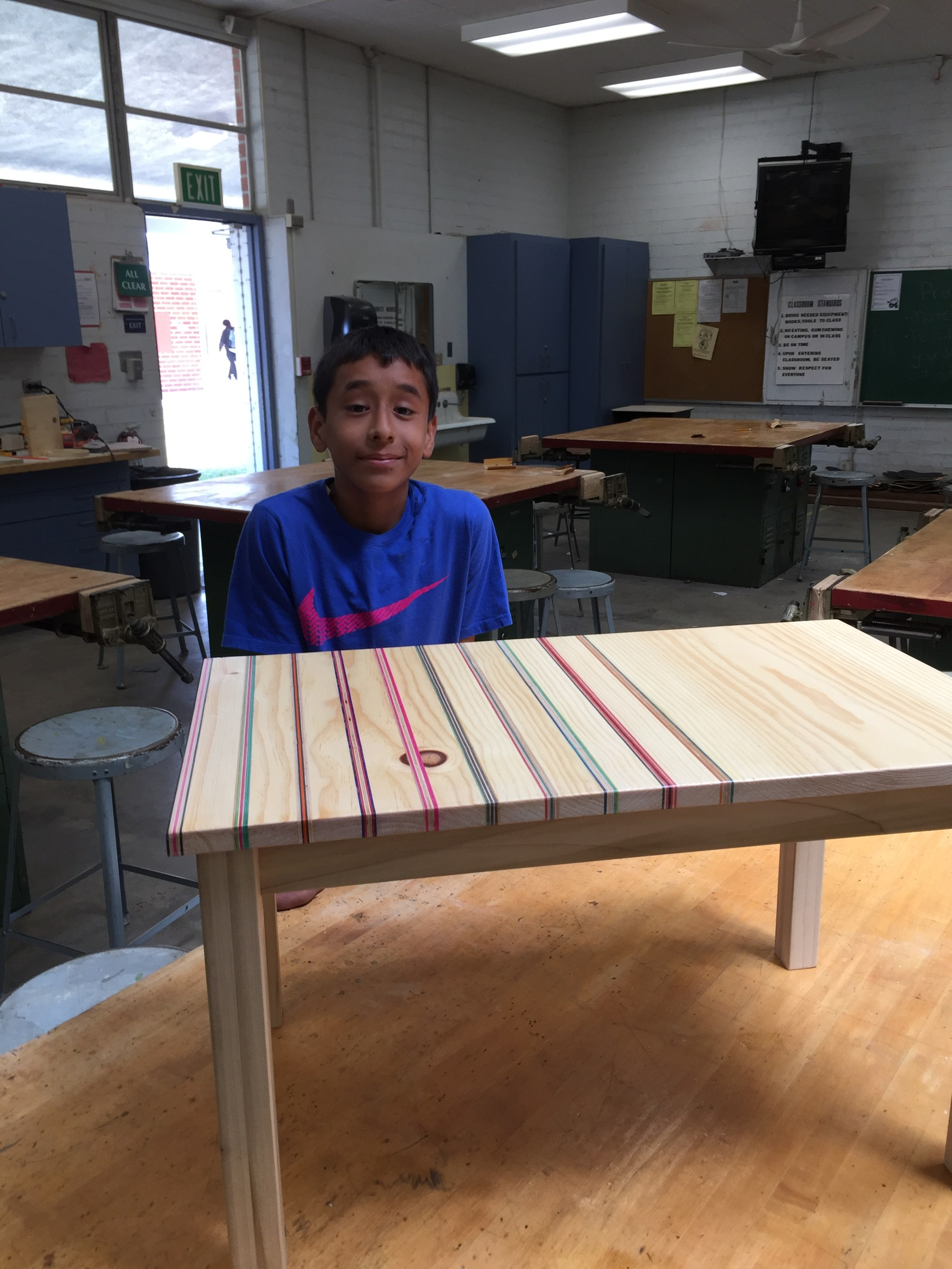 student with table