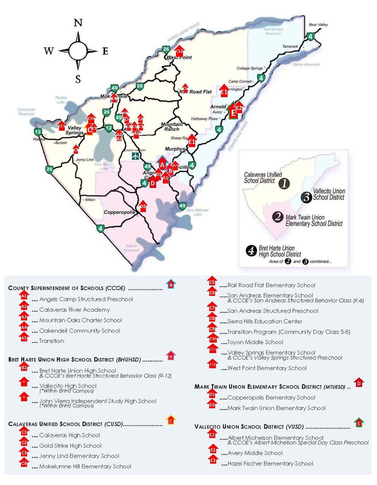 Map of Calaveras County School Locations