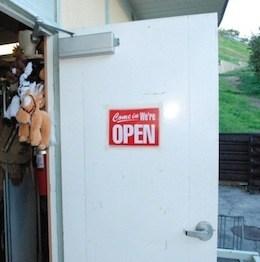 """Door with """"open"""" sign"""