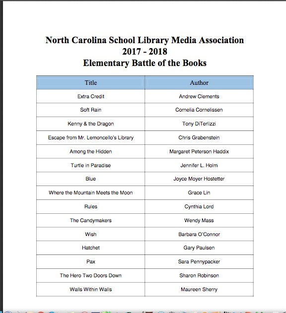 battle of the books titles