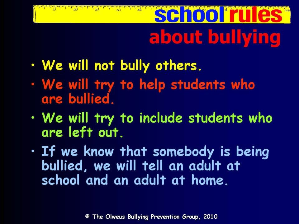 the olweus bullying prevention program Olweus bullying prevention program be safe, be kind, be responsible what is the olweus bullying prevention program click here to find out for more information regarding our.