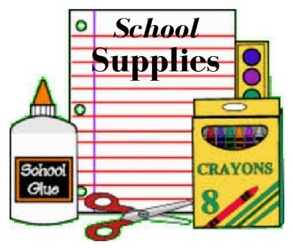 clip art of school supplies with the words school supplies