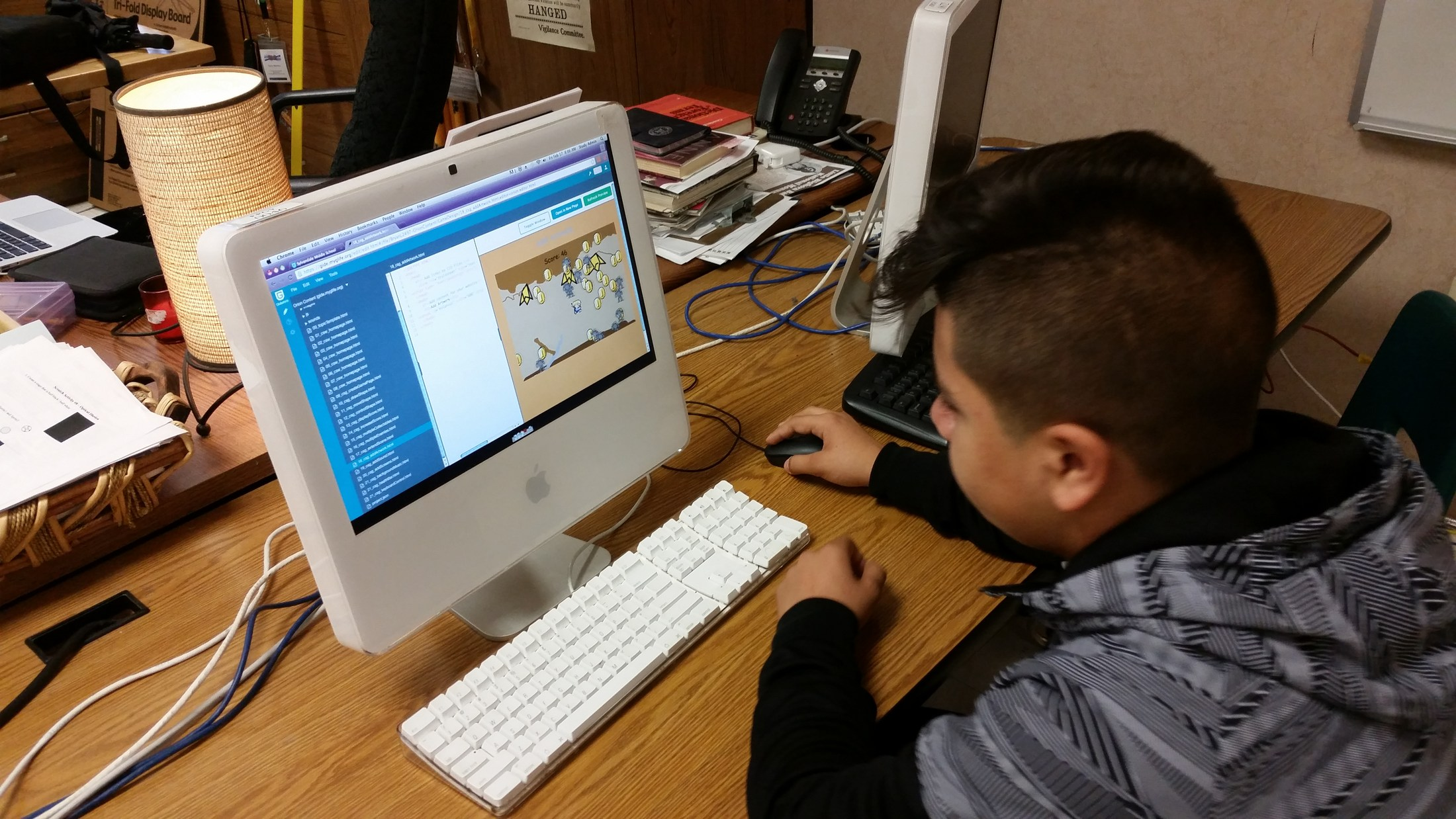 Student works on video game.