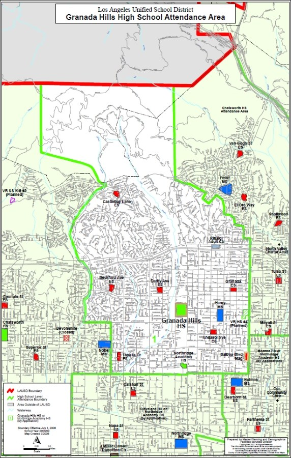 Granada Hills Charter School Boundary Map