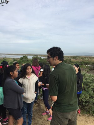 Group of students interacting with park ranging while learning about the marsh habitat