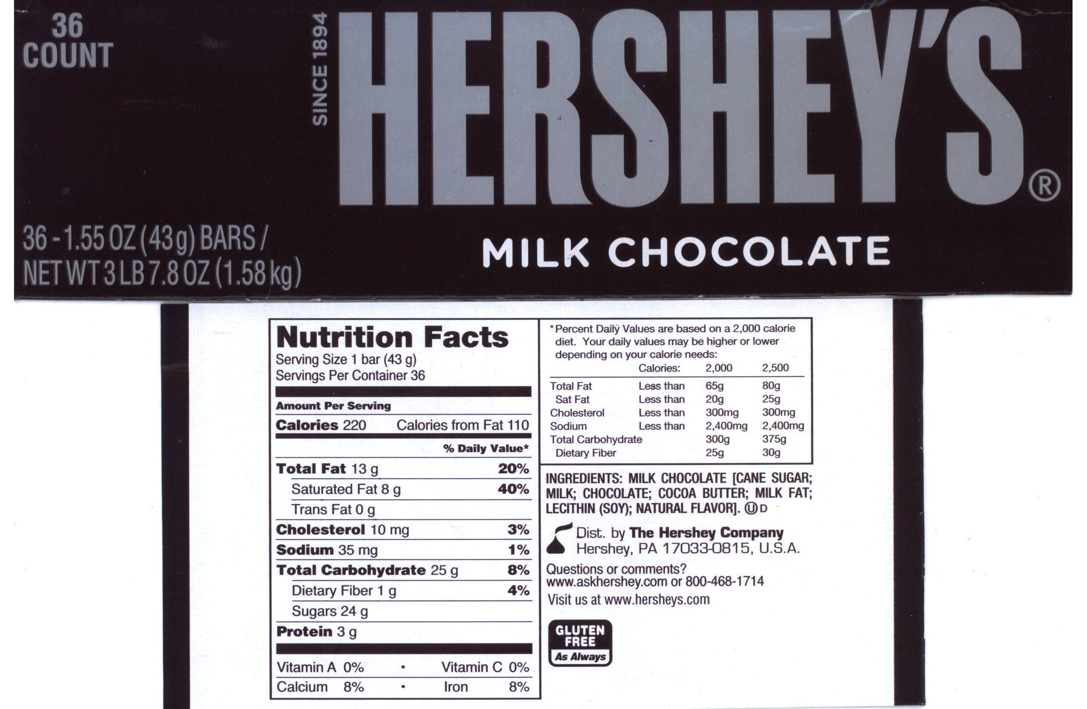 Hershey Bar Nutritional info