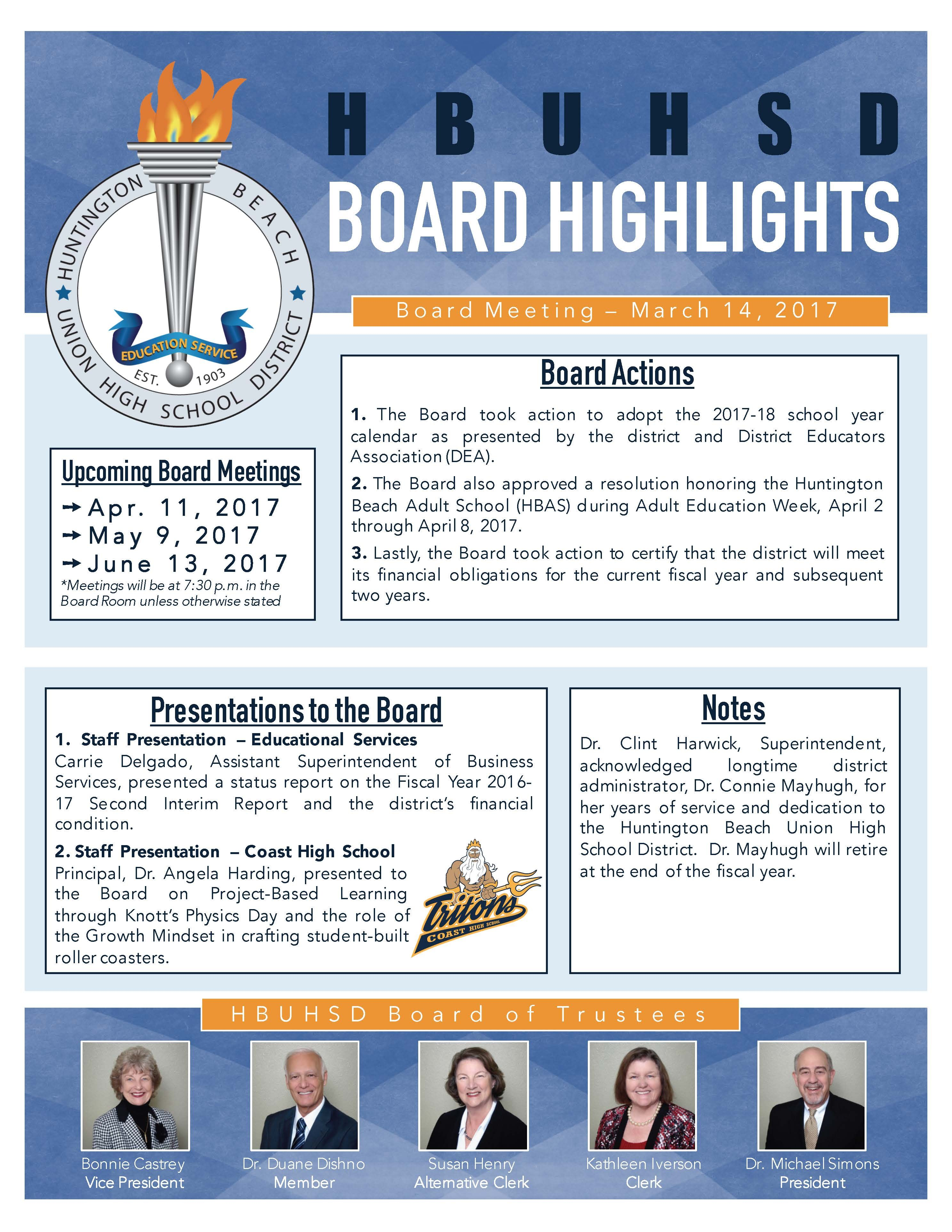 MARCH 2017 BOARD HIGHLIGHTS.