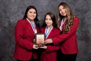 Pictured are Lucero Arvizu, Abigail Gonzalez and Pilar Trevino. This team took 3rd Place in Entrepreneurship.