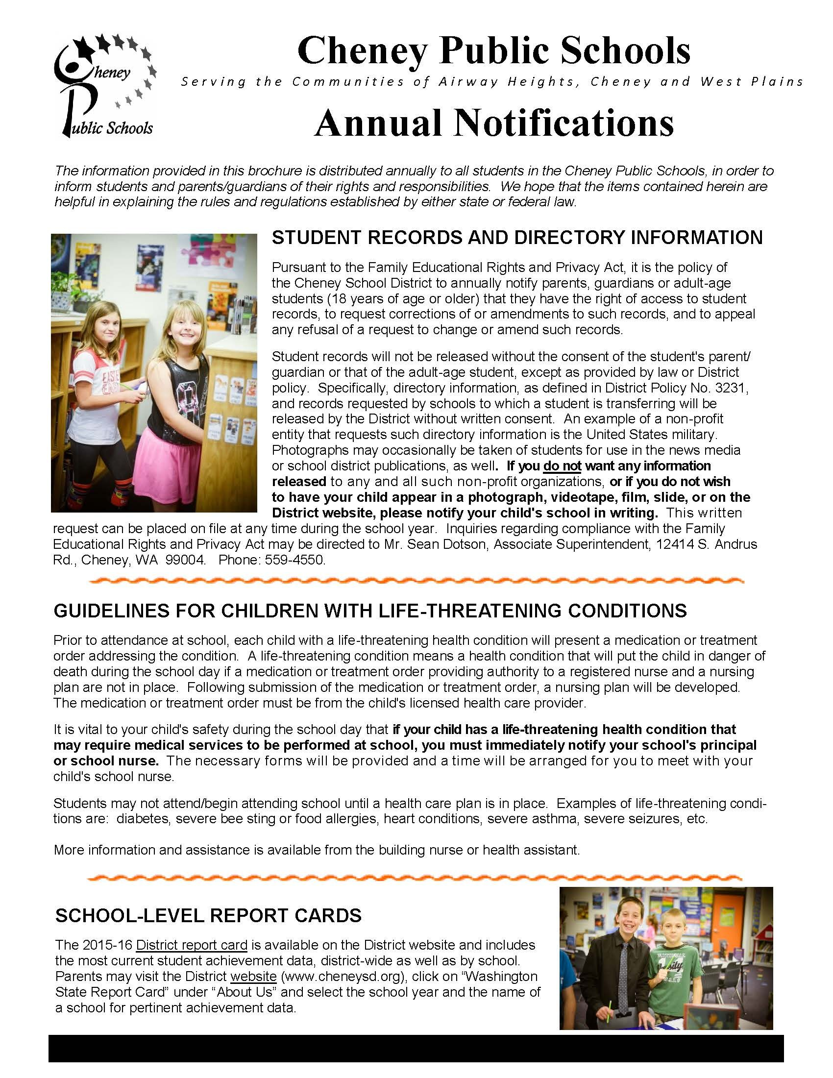 Annual Notifications – Parent & Student Resources – Cheney School ...