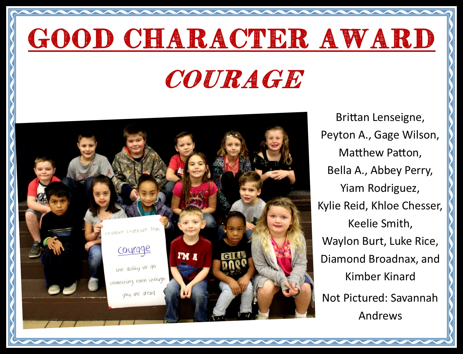 students with courage character trait poster
