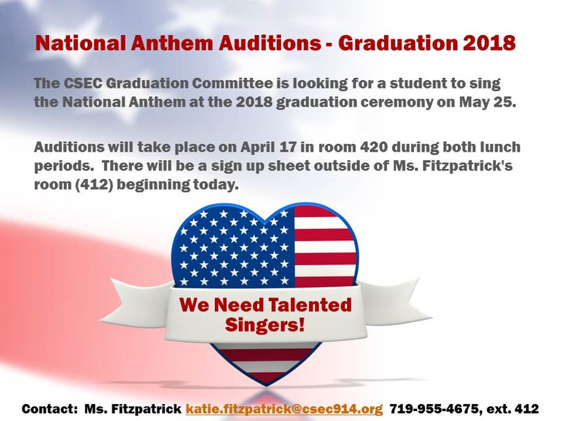 Sing the national anthem at the 2018 graduation ceremony!