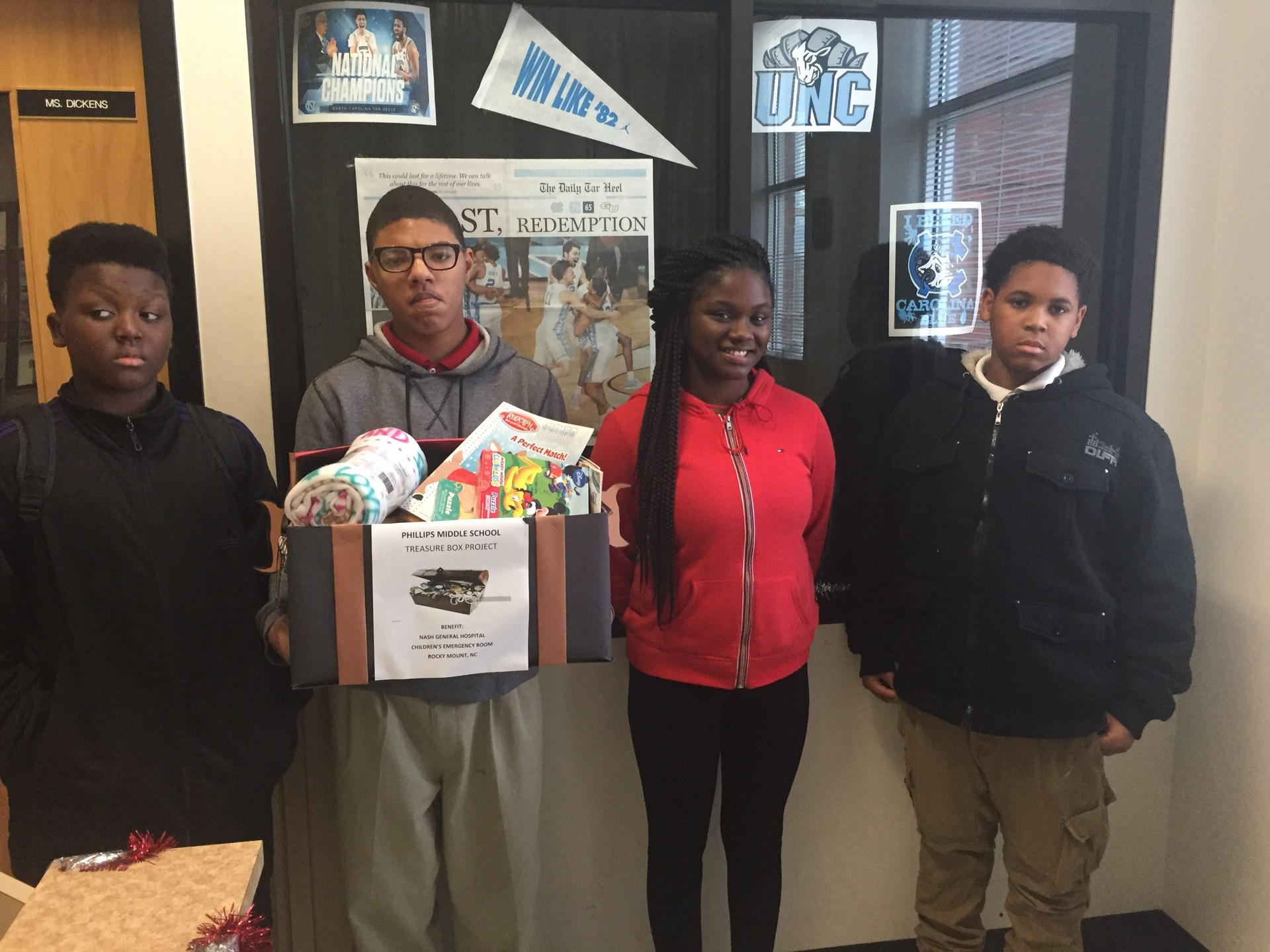 Phillips Scholars provided treasure boxes for the children's unit at Nash General Hospital