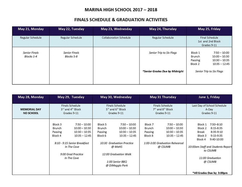 Final Schedule & Senior Activities