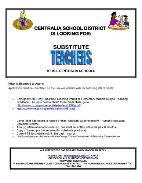 Sub Teachers Needed Flyer