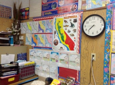 Classroom wall with art.