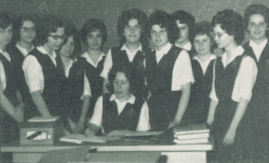 A group of young women who were in the Newtonian Math Club in the 1960s at OLSH