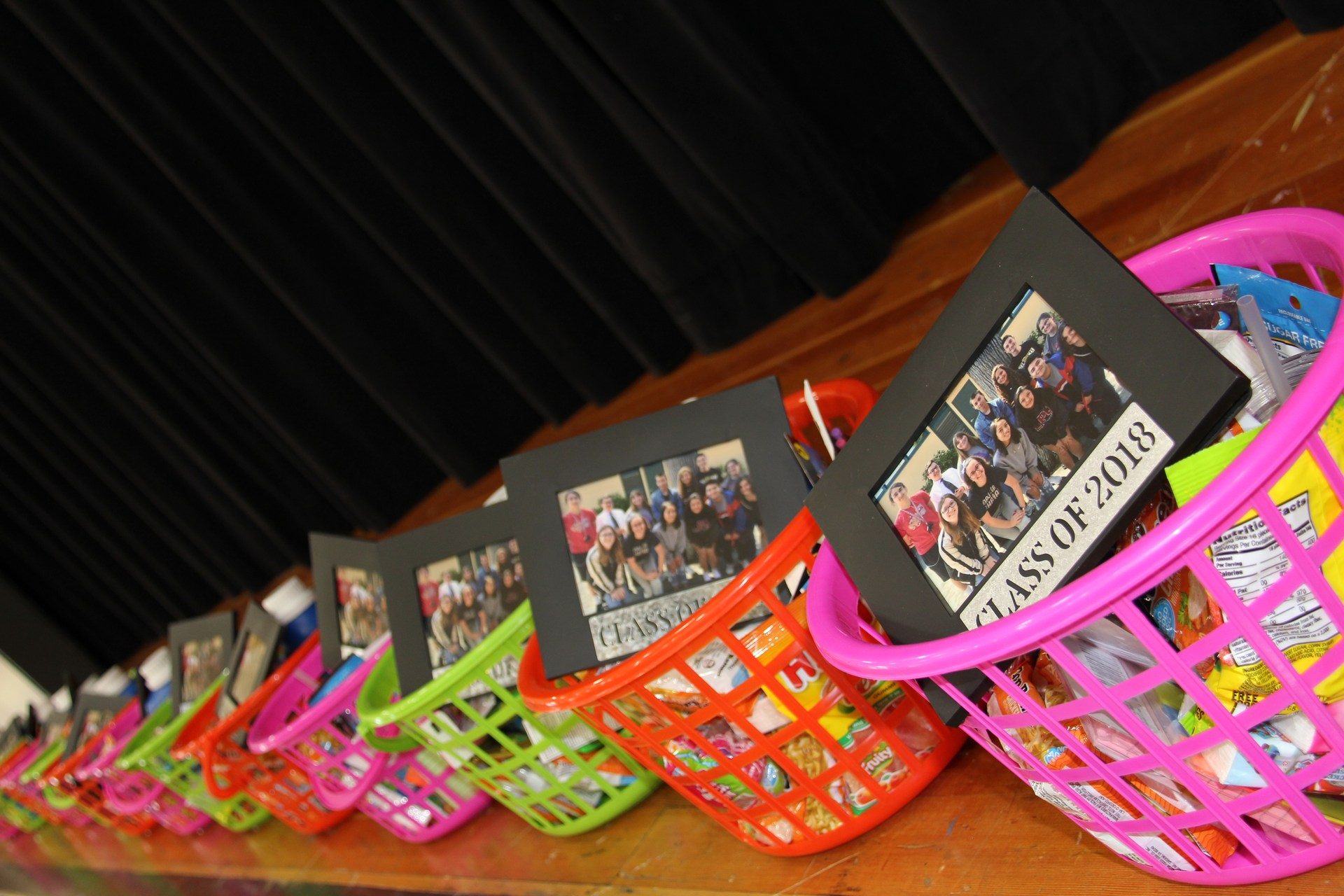 Image of gift baskets for IB Diploma Candidates at CAS Celebration Event