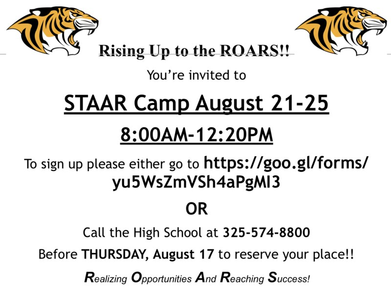 SHS STAAR Camp Slated for August 21-25 Featured Photo