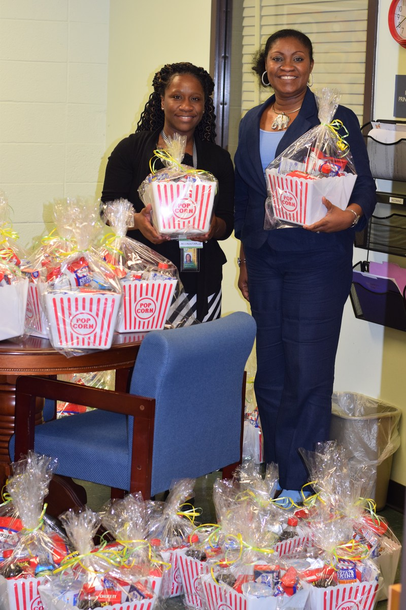 McComb School District Partners In Education donates gift baskets to Otken 3rd grade teachers and assistants.