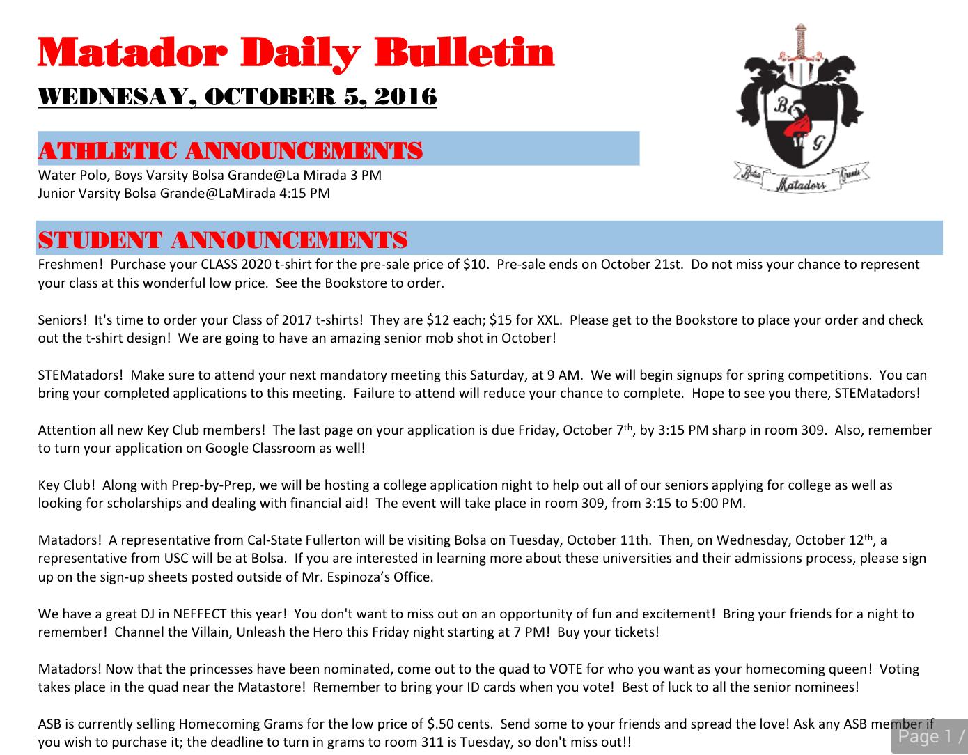 10-5-16 – Daily Bulletin – Bolsa Grande High School
