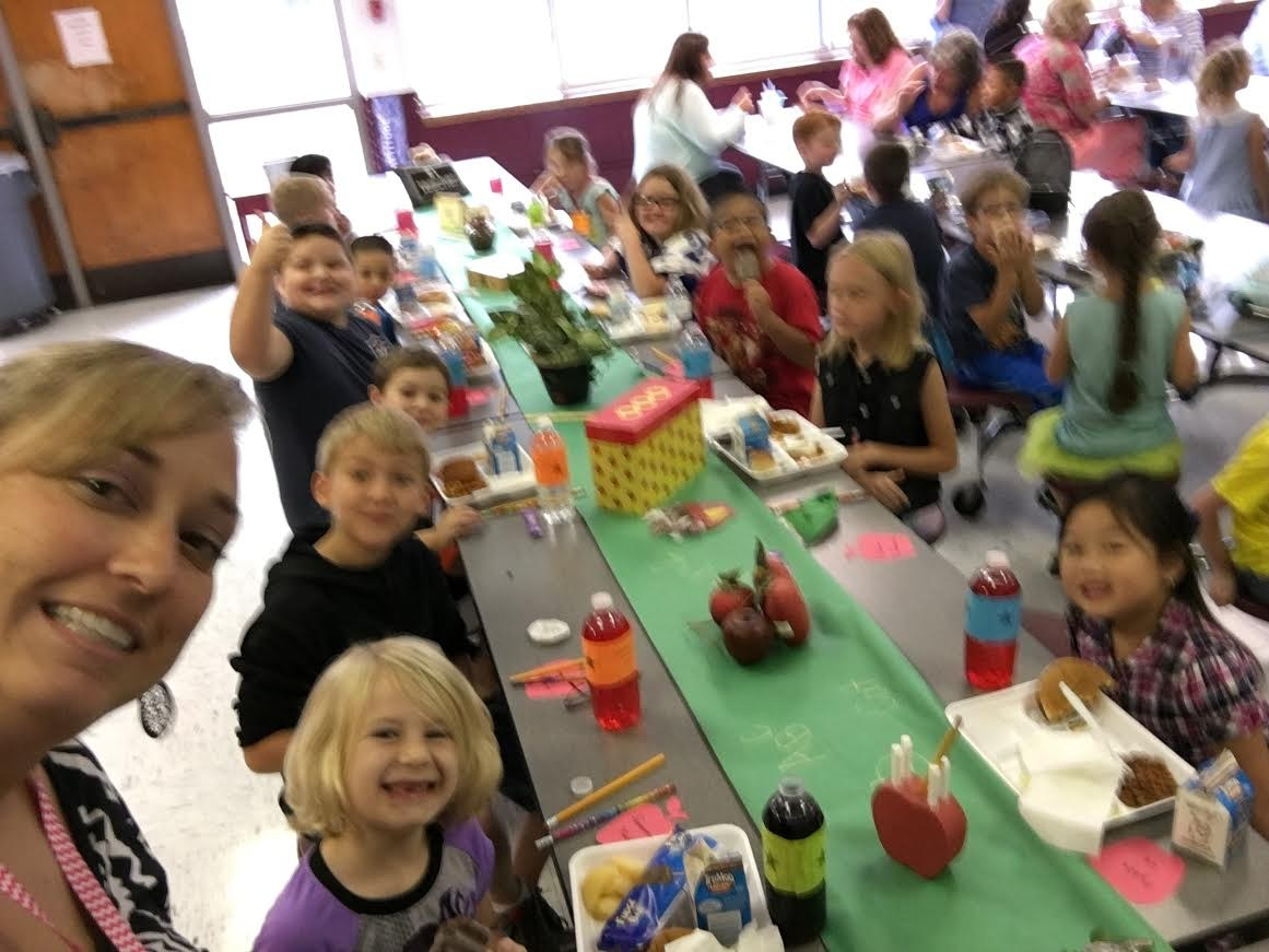 Mrs. Dowdle enjoying lunch with Principal's Table students