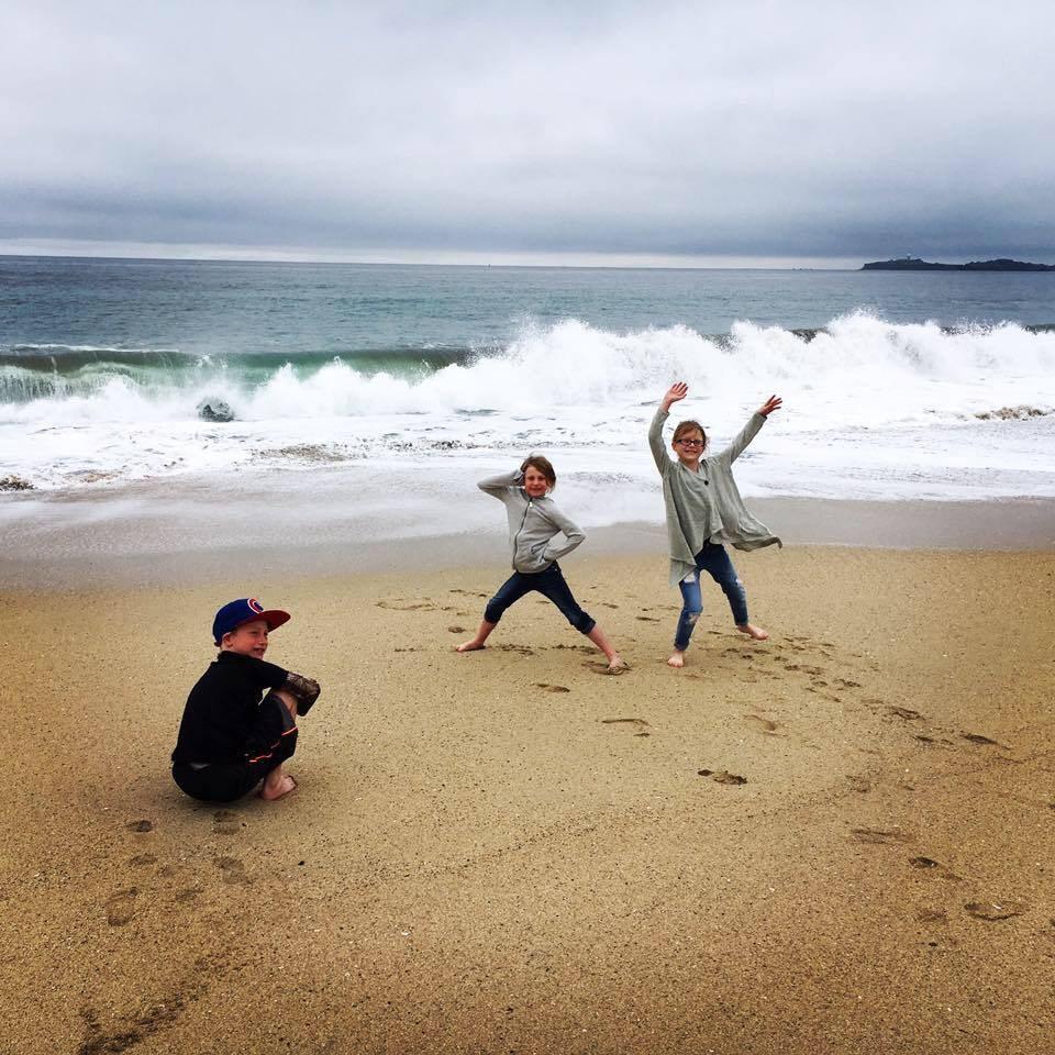 My 3 kiddos at Half Moon Bay in CA