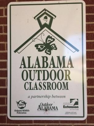 Alabama Outdoor Classroom plaque