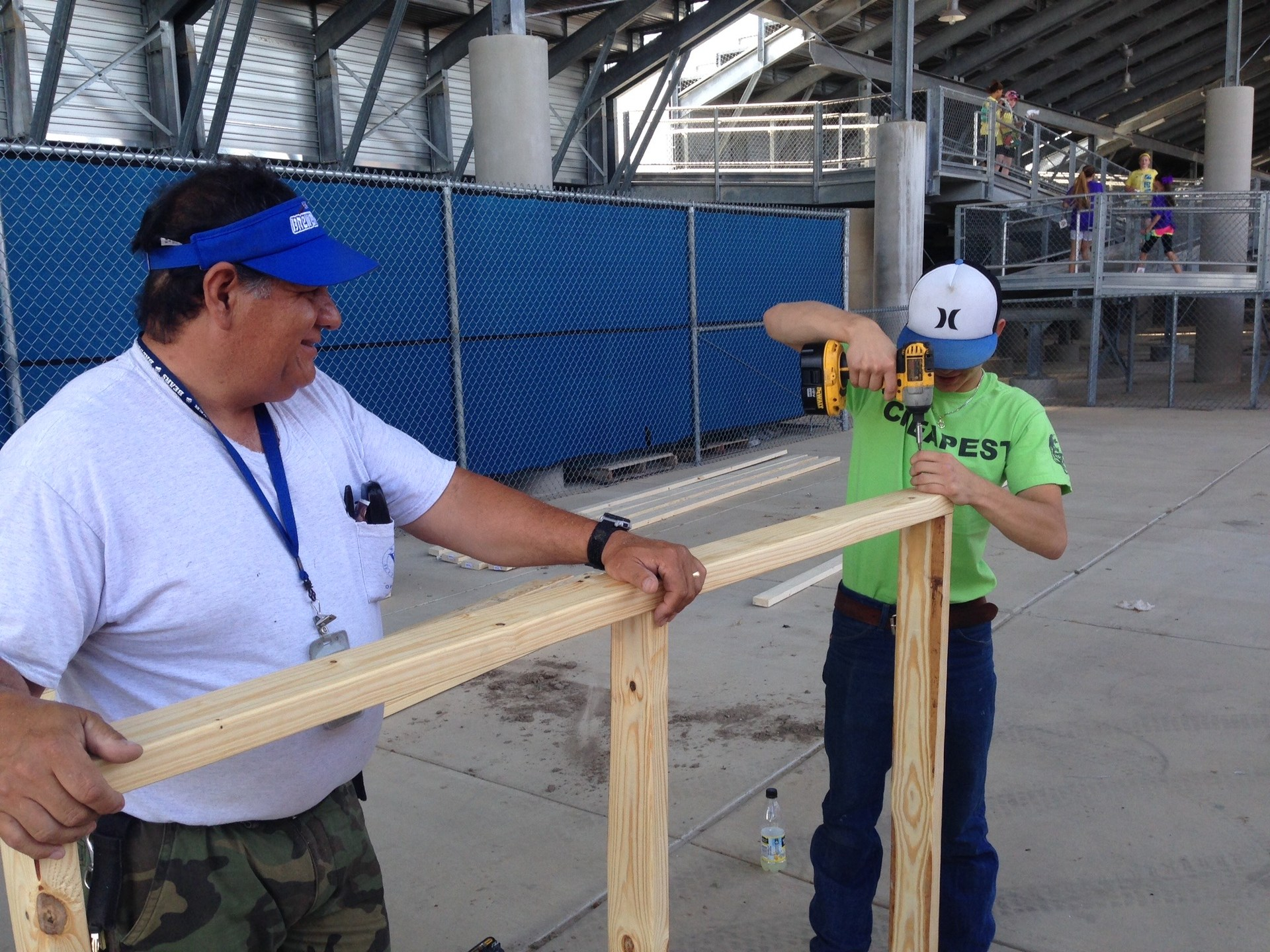 Maintenance and Operations Staff building a ramp.
