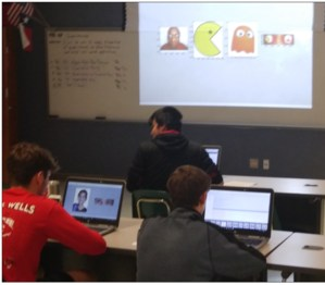 icture 1: Shown in top row is junior Agustin Andrade; second row is sophomore Andrew Huff and freshman Brady Owens. You can see on Andrew's computer his current output a girl with close-up of her eyes. He is pasting an image of the earth on her eyes (if you zoom in real close, you can see has an earth in the tear-duct of the girl's right eye and the earth is placed directly on the iris of her left eye. On Brady's computer, you can see the python code editor with code.