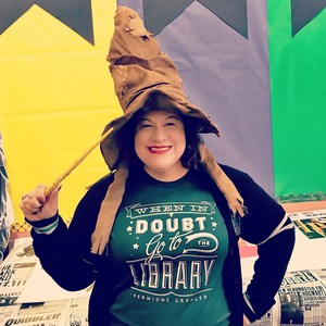 Fun picture of Margie Longoria wearing the Sorting Hat from the Harry Potter series of books
