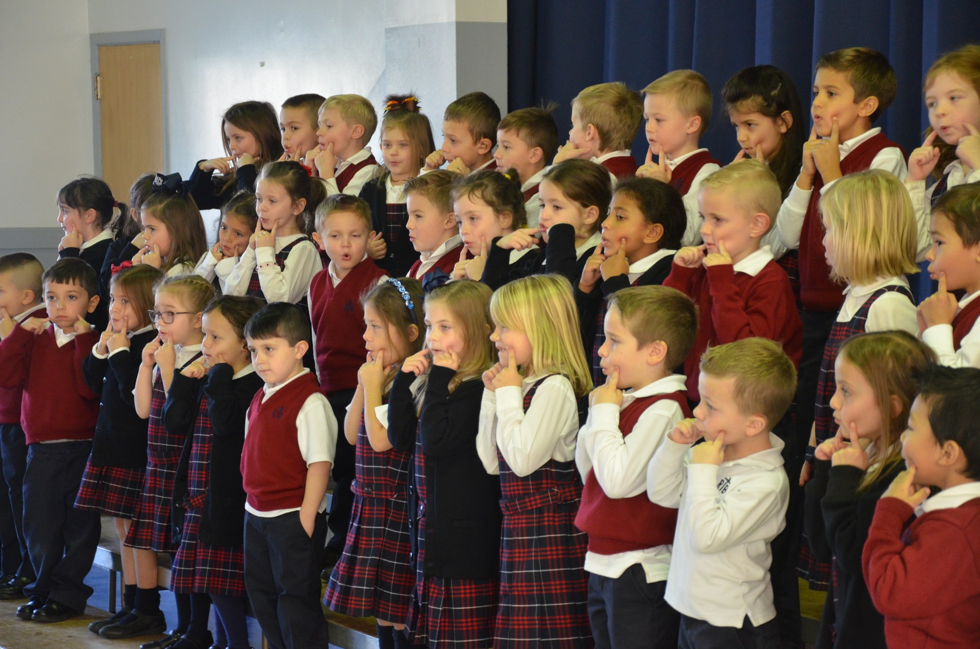 Students sing second song during concert