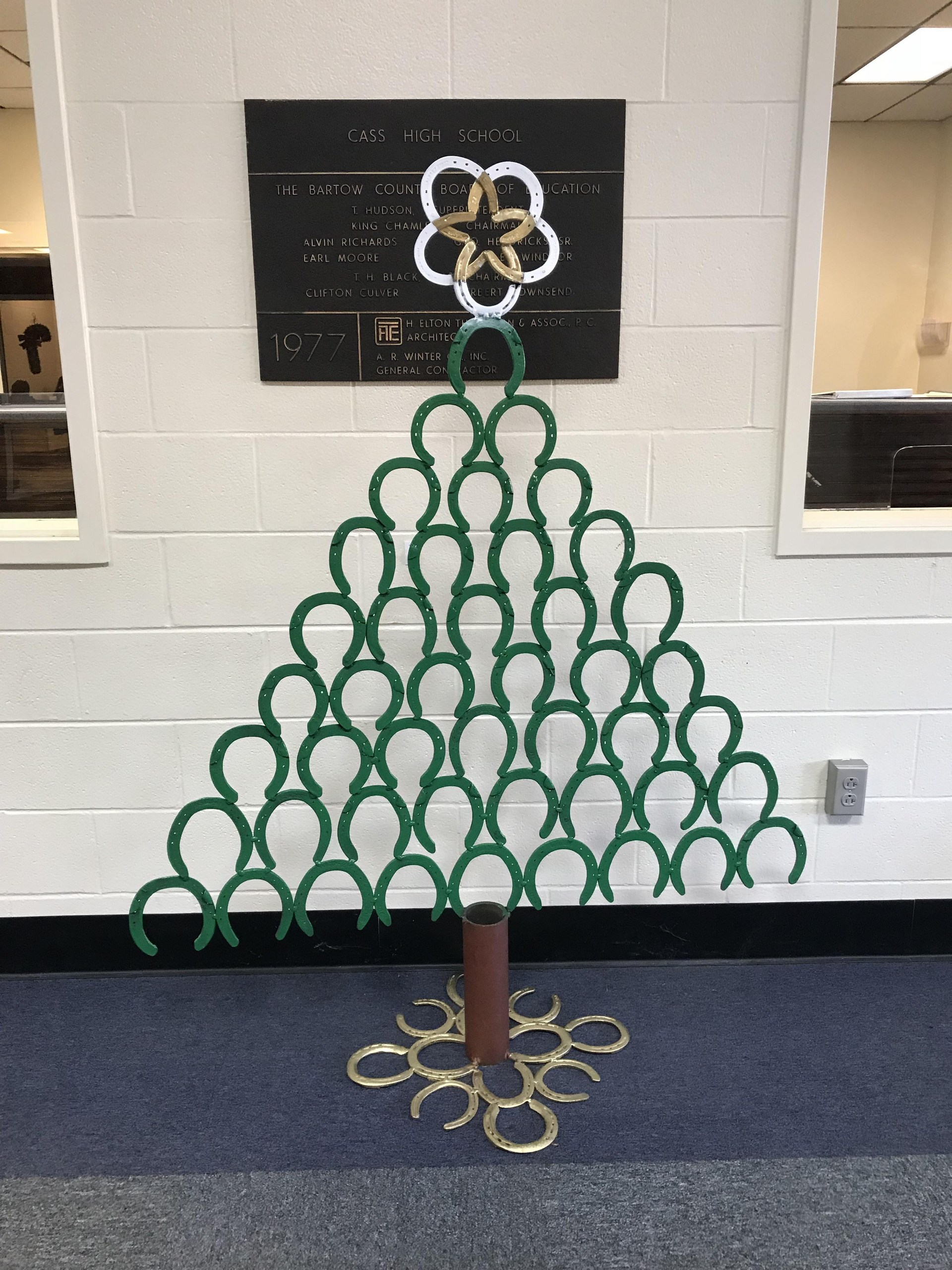 The welding students created this Christmas tree from horseshoes.
