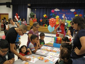 Students playing Dr. Seuss Bingo