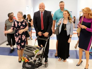 Bill Spurlock with stroller at Rocky Fork Middle School