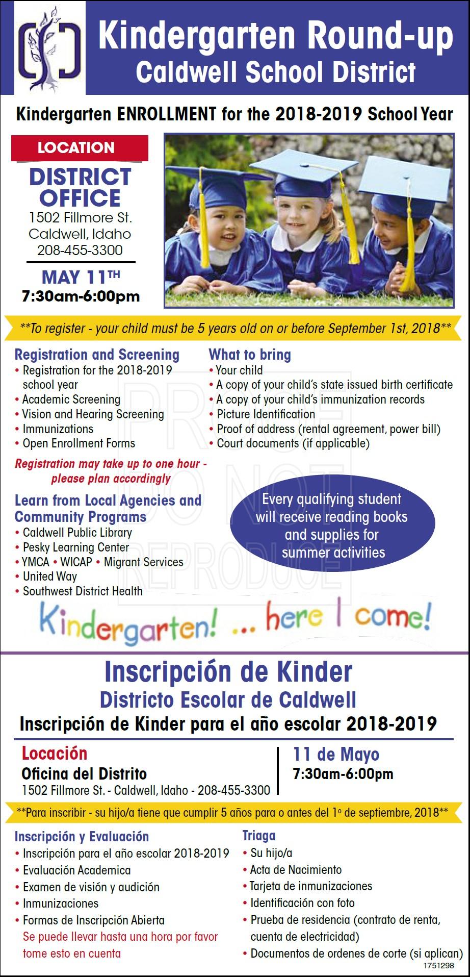 Kindergarten Round-up Inscripción de Kinder