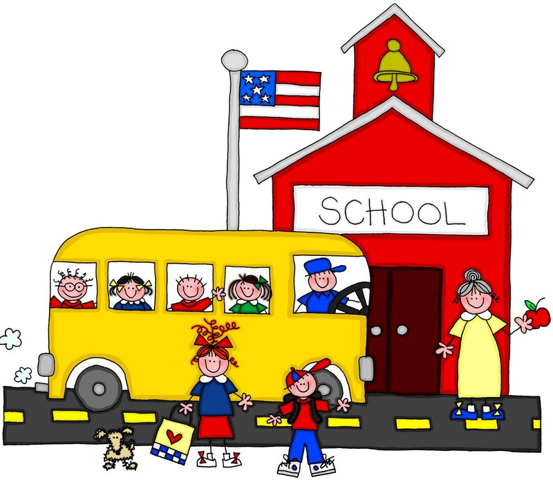 School house with school bus in front and students gathered around.