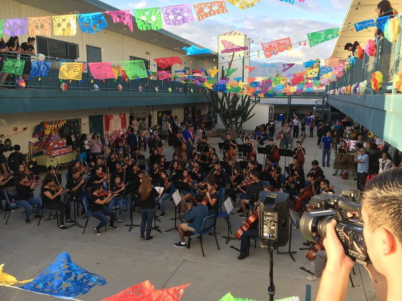 Baldwin Park High School's orchestra plays traditional Mexican music as parents gather to listen at the school's Dia de los Muertos celebration on Oct. 28.