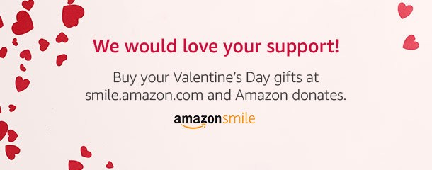 Image with hearts promoting the AmazonSmile website
